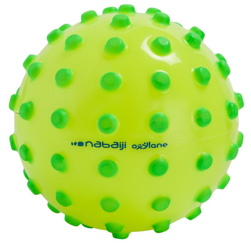Pelota acuática pequeña FUNNY BALL amarilla con puntas verdes