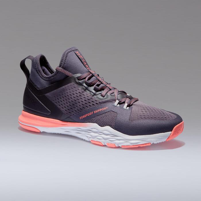 765f34ee19250 Zapatillas fitness cardio-training 920 mid mujer violeta gris Domyos ...