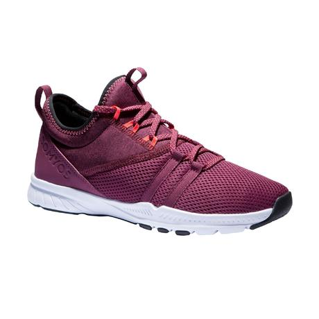 812e61634bf006 Chaussures fitness cardio-training 120 mid femme bordeaux | Domyos by  Decathlon