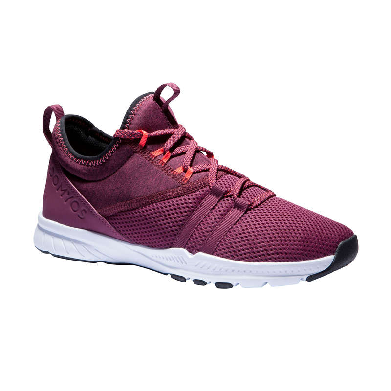 FITNESS SHOES Fitness and Gym - MID 120 Women's Shoes Burgundy DOMYOS - Gym Activewear