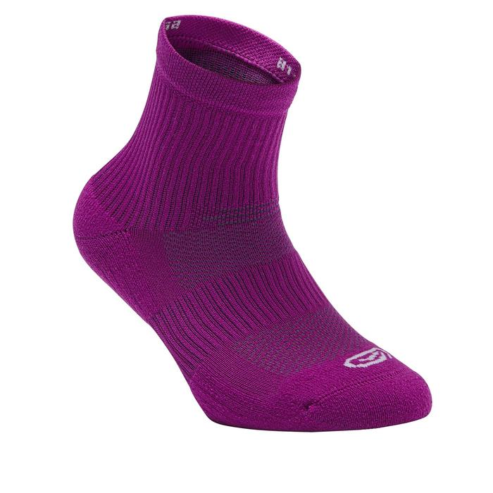 Lot 2 paires de chaussettes athlétisme enfant confort tige haute violettes