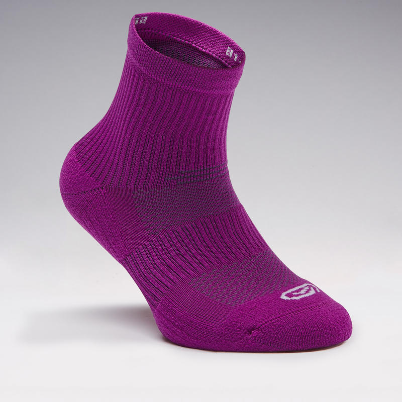 Confort children's athletics socks high pack of 2 violet