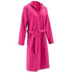 Albornoz de algodón ligero mujer rosa, con cinturón y capucha