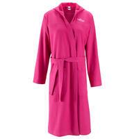 Women's lightweight cotton bathrobe with hood and belt - Pink