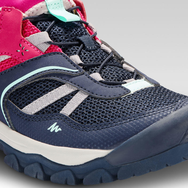 Girl's low mountain walking lace-up shoes Crossrock - Blue/Pink 3-5.5