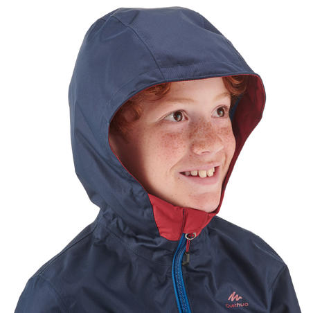 Kids' Waterproof Hiking Jacket - MH500 Aged 7-15 - Blue and Red