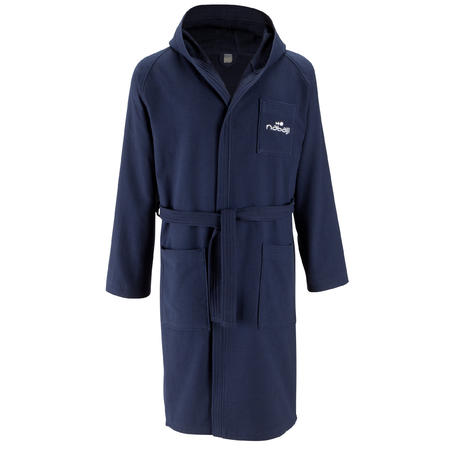 Men's lightweight cotton bathrobe with hood and belt - Dark Blue