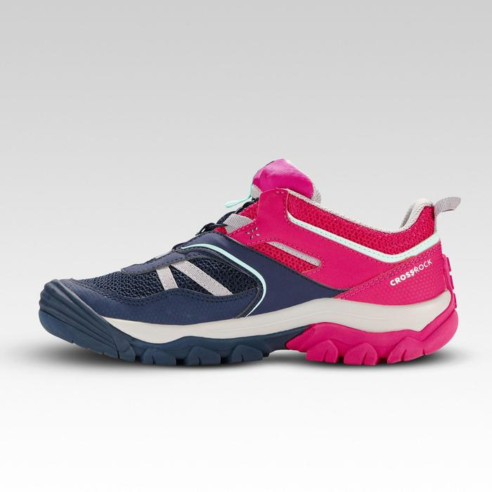 Wanderschuhe Crossrock Low mit Schnürung Kinder Mädchen blau/rosa