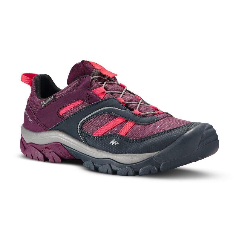Chaussures de randonnée enfant avec lacet CROSSROCK imperméables violettes 35-38