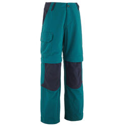 Kids' Modular Hiking Trousers MH500 Aged 7-15 Green