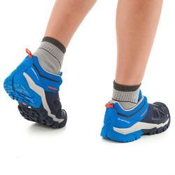 男童款綁帶低筒登山健行鞋Crossrock-藍色