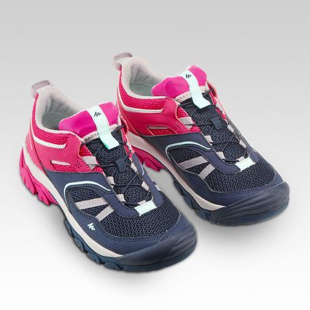Chaussures de rando montagne basses avec lacets Crossrock bleues/rose - Filles