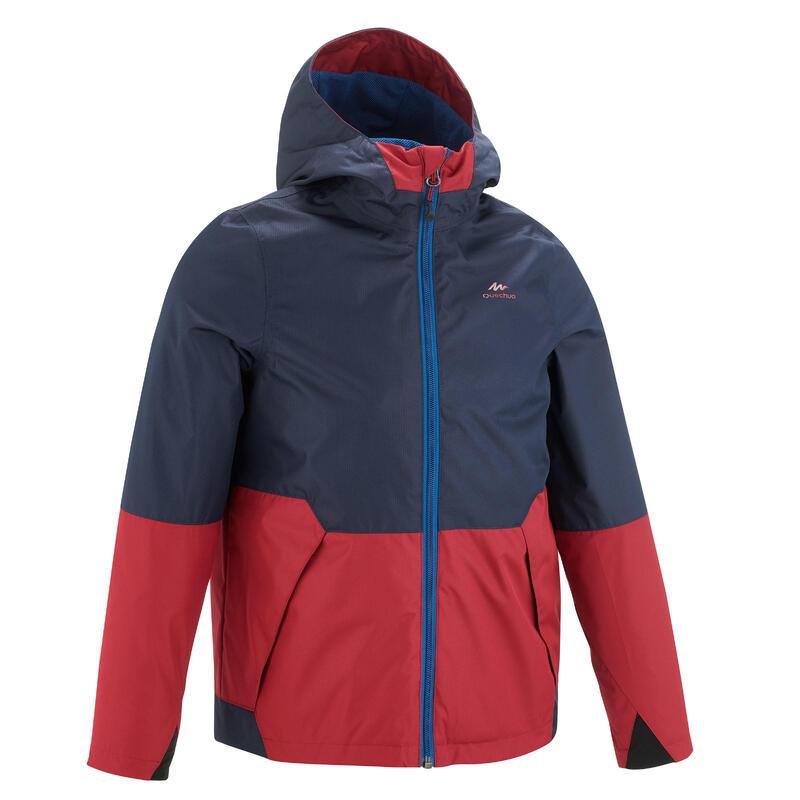 Veste imperméable de randonnée - MH500 bleue et rouge - enfant 7-15 ans