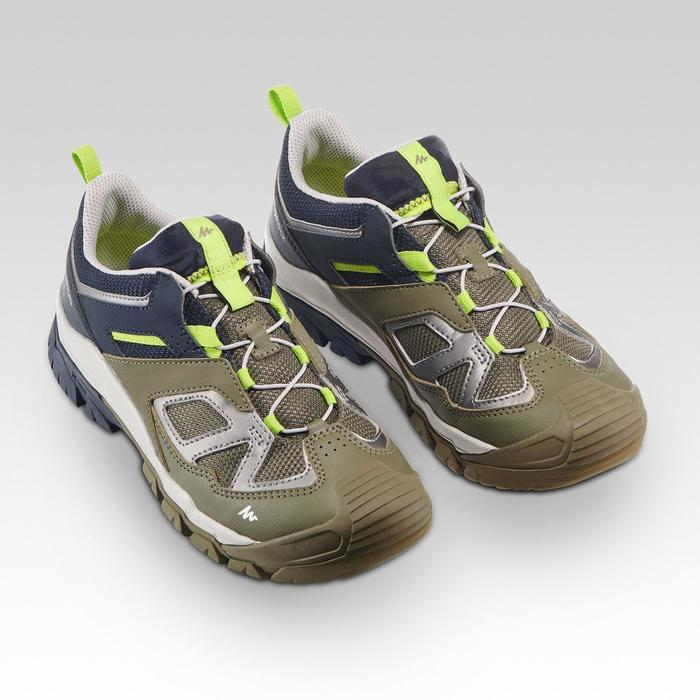 Chaussures de randonnée montagne basses avec lacet garçon Crossrock Kaki