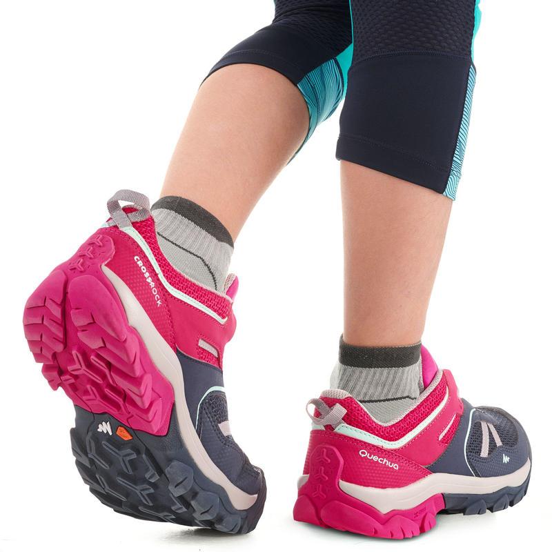Chaussures de randonnée montagne basses lacet fille Crossrock bleues/rose 35-38