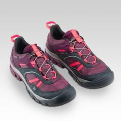 Children's waterproof lace-up hiking shoes CROSSROCK - PURPLE