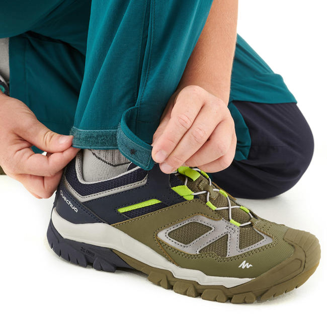 Kids' Modular Hiking Trousers MH500 Aged 7-15 Green