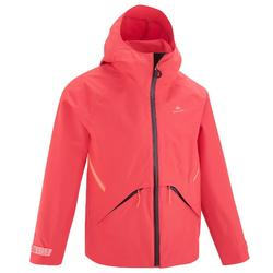Kids' Waterproof Hiking Jacket - MH550 - coral - Age 7-15 years