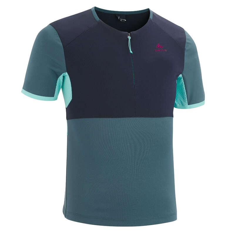 PANTS SHORTS, T SHIRT GIRL 7-15 Y Hiking - MH550 Girls' T-Shirt - Gry Blu QUECHUA - Hiking Clothes