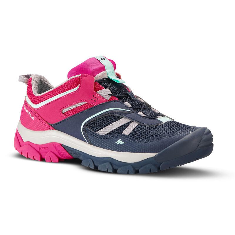 Zapatillas senderismo montaña caña baja cordones niña Crossrock azul/rosa 35-38