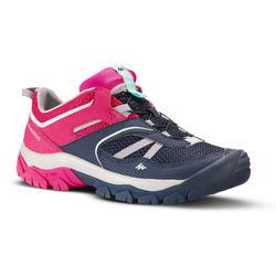 兒童款女童登山健行鞋Crossrock-藍色/粉紅色