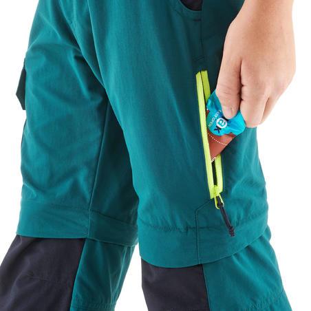 """Bērnu modulāras pārgājienu bikses """"MH500"""", 7–15gadi, zaļas"""