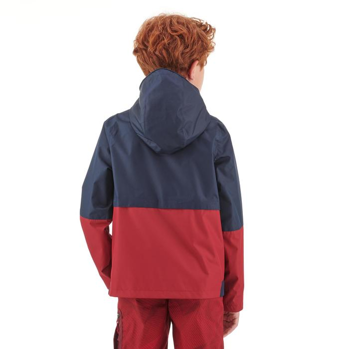 Veste imperméable de randonnée - MH500 bleue et rouge - enfant