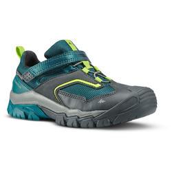 Chaussures imperméables de randonnée -CROSSROCK vertes- enfant 28 AU 34 scratch