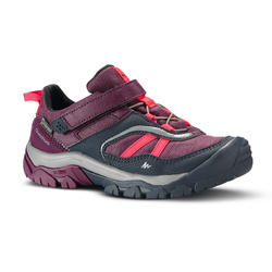 Children's waterproof hiking shoes with hook and loop tabs CROSSROCK - purple