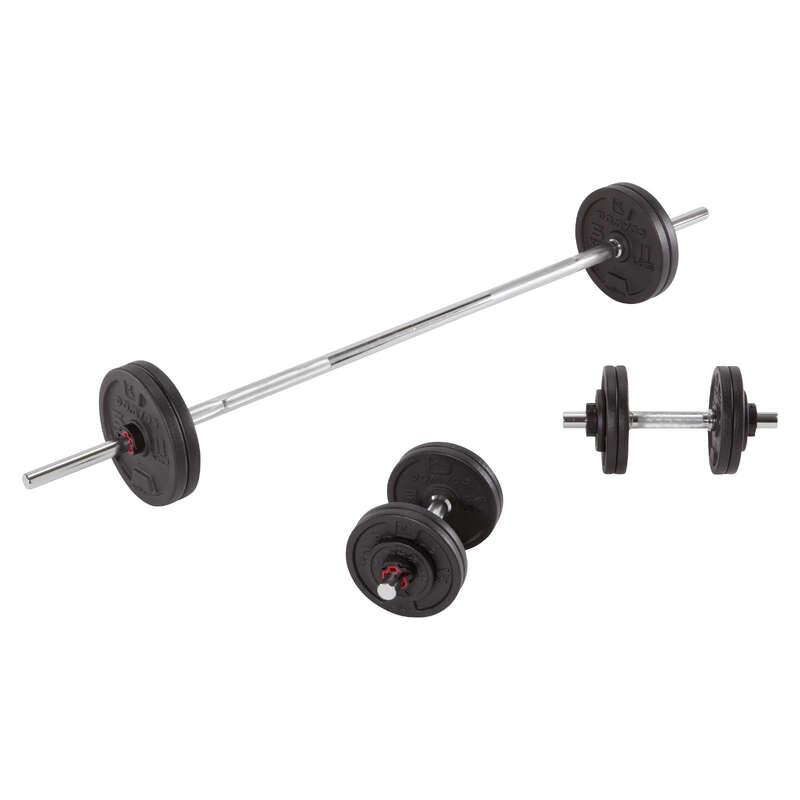 SZABADSÚLYOS TESTÉPITÉS Fitnesz - Súlyzókészlet és rúd, 50 kg-os DOMYOS - Testépítés és cross training eszközök