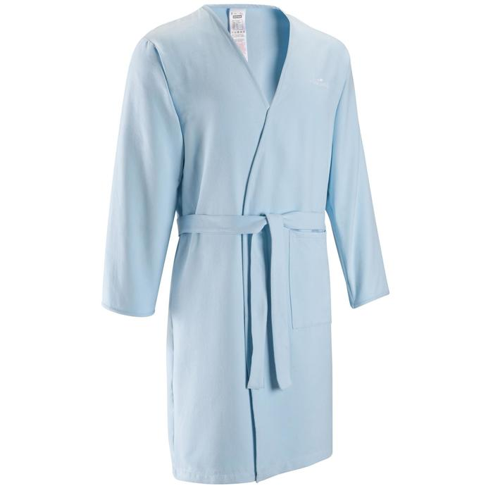 Albornoz de microfibra ligera modelo adulto azul claro, 1 bolsillo sin capucha