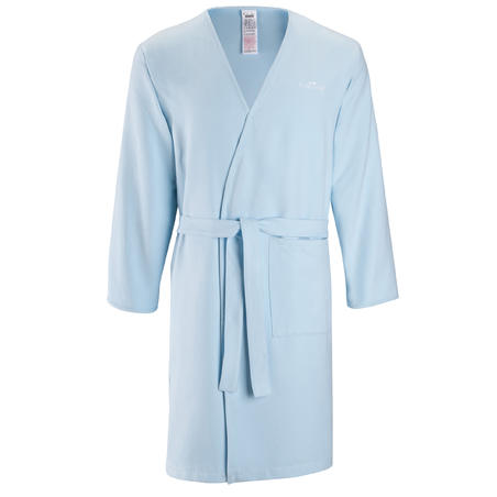 Adult Microfibre Pool Bathrobe with Pocket and Belt - Light Blue
