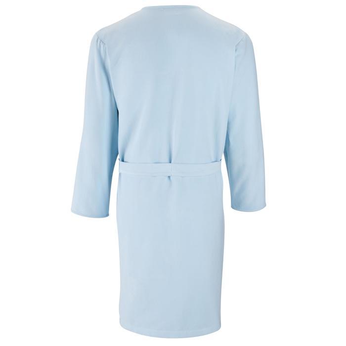 Peignoir adulte microfibre bleu clair avec poche et ceinture