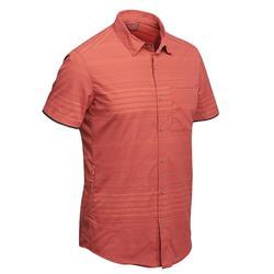 Camisa manga corta TRAVEL100 fresh hombre a rayas naranja