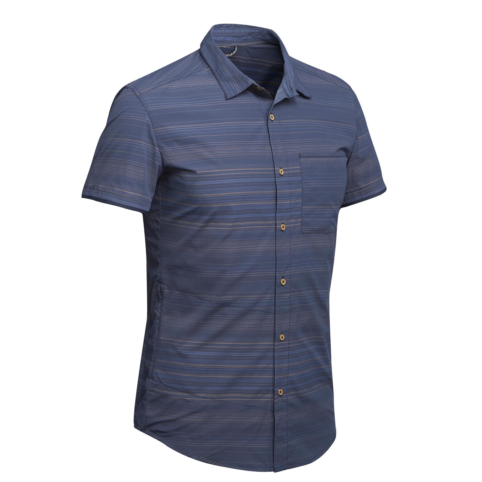 Forclaz Overhemd met korte mouwen Travel 100 fresh heren grijs gestreept
