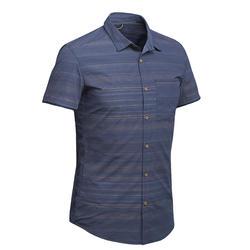 男款短袖襯衫Travel 100 Fresh-藍色條紋