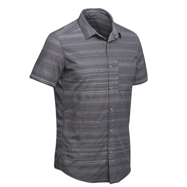 Travel 100 Men's Fresh Short-sleeved Shirt - Grey Stripes