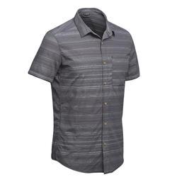 Overhemd met korte mouwen Travel 100 fresh heren grijs gestreept