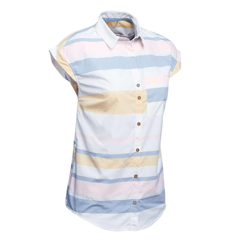 ЖЕН 1 СЛОЙ ДЛЯ ПУТЕШЕСТВИЙ Женская летняя одежда - Рубашка Travel 100 fresh жен.  FORCLAZ - Женская летняя одежда