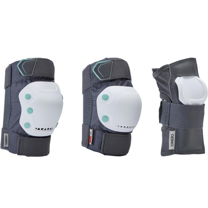 Fit500 Adult 3-Piece Inline Skate Protection Set - Grey/Peppermint Green