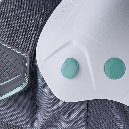 סט 3 חלקים להגנה בעת החלקה למבוגרים מדגם Fit500 - אפור/ירוק מנטה