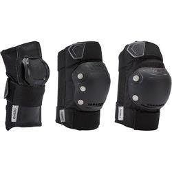 成人直排輪護具3件組Fit500 - 黑色/灰色
