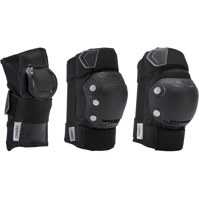 Set 3 Protecciones Roller FIT500 Adulto Negro Gris