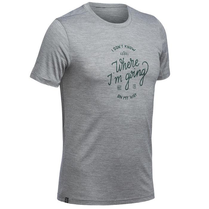 T-shirt met korte mouwen trekking Travel 500 merinowol heren kaki