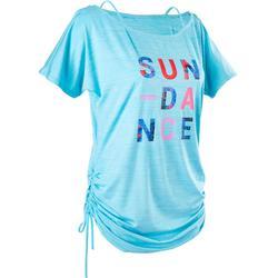 女款有氧舞蹈可調式T恤 - 土耳其藍