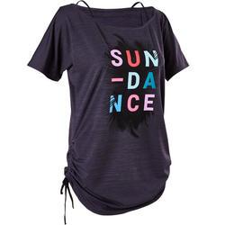 Aanpasbaar dames T-shirt voor dans-workouts zwart