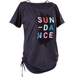 女款有氧舞蹈可調式T恤 - 黑色