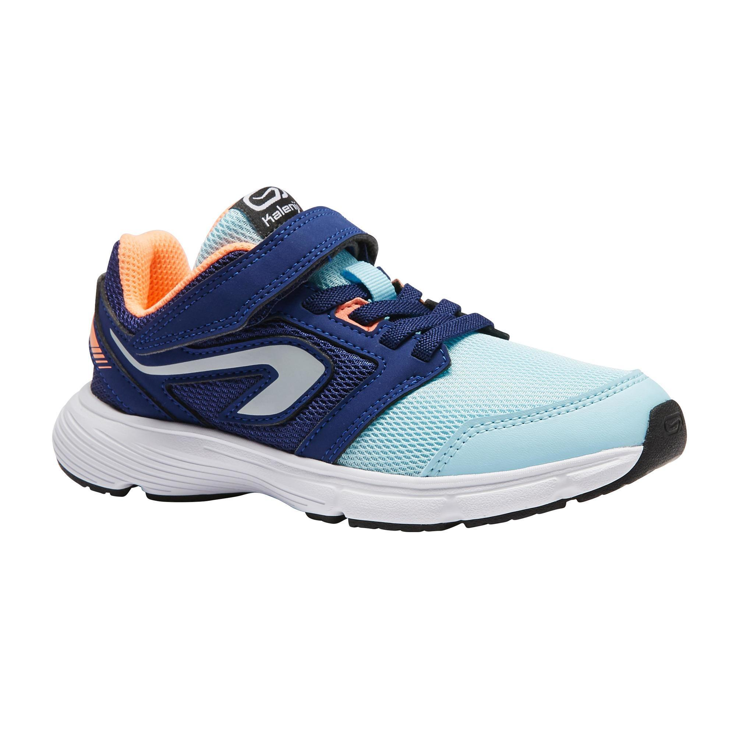 Kalenji Hardloopschoenen kinderen Run Support klittenband blauw/koraalrood