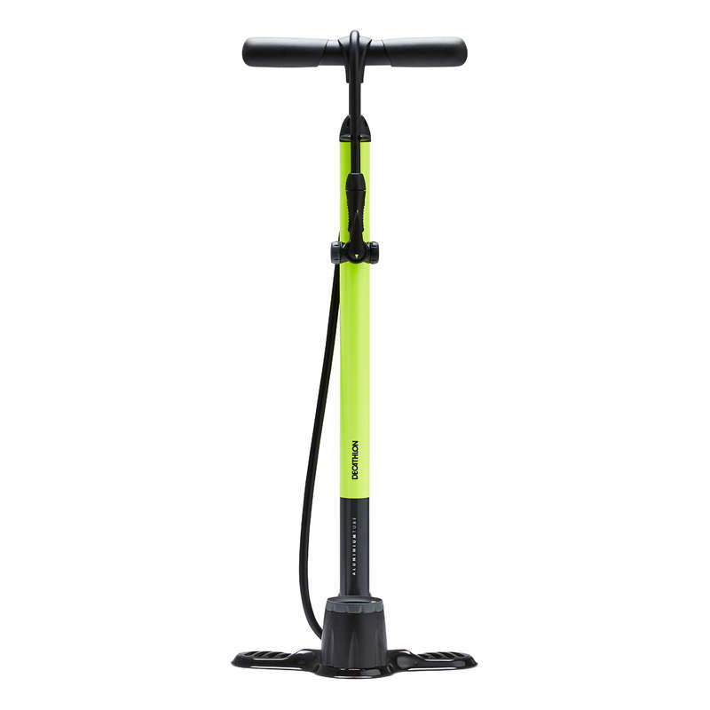 BIKE PUMPS Cycling - 900 Floor Pump - Neon Yellow BTWIN - Bike Maintenance