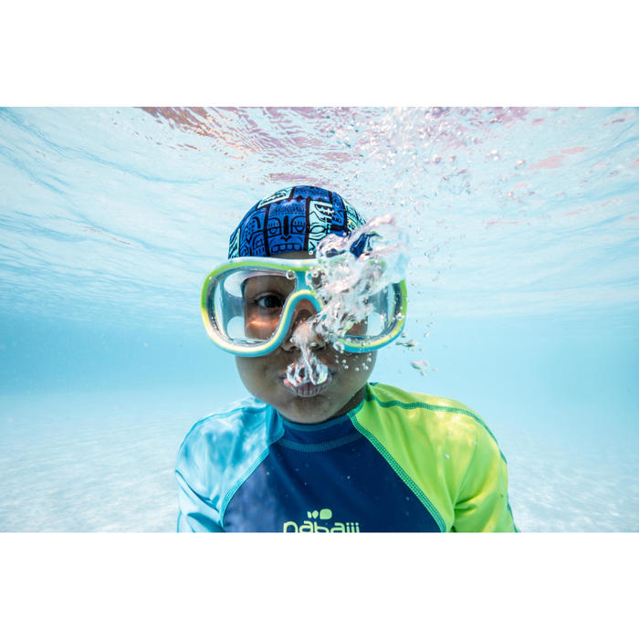 男童款連身泳裝KLOUPI 100-藍綠色